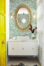bathroom green bright gold mirror For more quick, quirky design elements,  Pulp Design Studios paired our Pop Rectangle Vessel Lavatory and Percy Wall  ...
