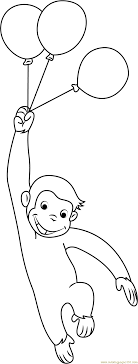 curious george with balloons coloring page free