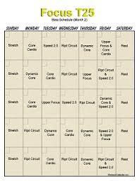 t25 workout calendar month 2