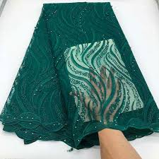 Dark Green <b>African Lace</b> Fabric 2019 Embroidery <b>Nigerian Beads</b> ...