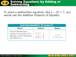 14 to solve a subtraction equation like y 15 7 you would use the addition property of equality