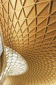 Modern coffered ceiling at the new Kings Cross Station and St Pancras  concourse in London