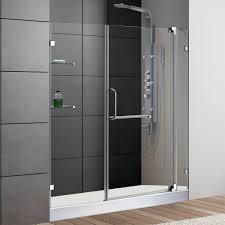 vigo 60 inch frameless shower door 3 8 clear glass chrome hardware with white base free modern bathroom
