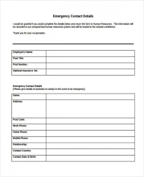 Employee Emergency Contact Form Digital Event Info