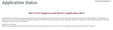 freshman application process honors arizona edu ua future application status page honors application link at top