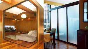 create space with glass room dividers