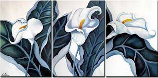 triple white flower 3 pieces set painting