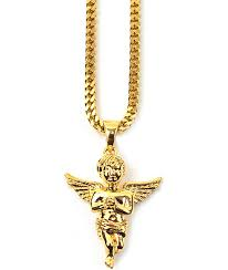 the gold s micro angel gold necklace
