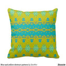 <b>Blue</b> and <b>yellow abstract</b> pattern throw pillows | Pillows, Patterned ...