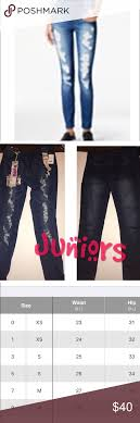 Juniors Jeans Distressed Skinny Jeans Size Chart Attached