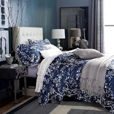 eastern fl chinoiserie blossom print duvet quilt cover navy blue tan white asian style botanical tree