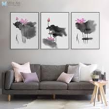 triptych modern watercolor chinese calligraphy ink lotus canvas a4 art print poster asian pictures wall decor on asian calligraphy wall art with triptych modern watercolor chinese calligraphy ink lotus canvas a4