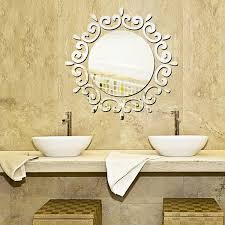 removable silver diy round mirror wall sticker gold 3d decal