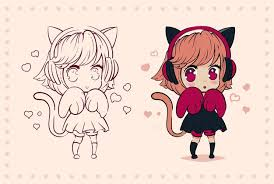 Premium Vector | Little <b>kawaii anime girl</b> with cat ears and paws