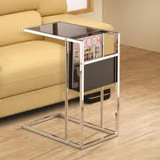 image of glass black sofa side table slide under