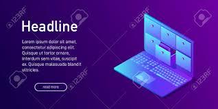 Database Index Design Isometric Concept Of Database Landing Page Design Web Site