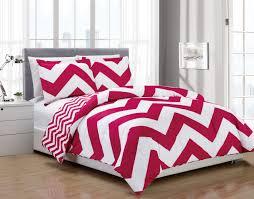 3 piece chevron pink white reversible down alternative comforter set king