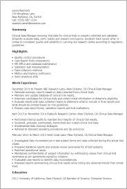 Data Management Resume Sample Professional Clinical Data Manager Templates To Showcase Your Talent
