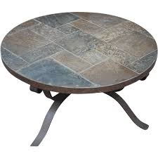 beautiful vintage handmade heavy wrought iron art round coffee circular stone table