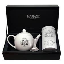 amazon mariage frères degustateur tea gift set earl grey french blue black tea and teapot grocery gourmet food