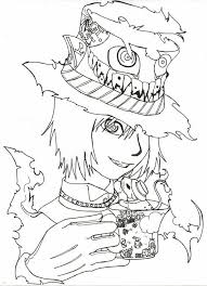 Small Picture Manga Drawing Mad Hatter Coloring Page Color Luna
