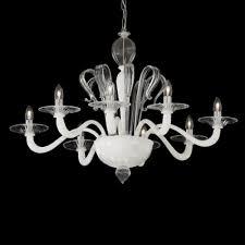 Kronleuchter Glas Weiß Transparent Metall Chrom Modern