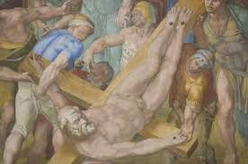 detail of michelangelo s crucifixion of st peter is seen after the restoration of the fresco