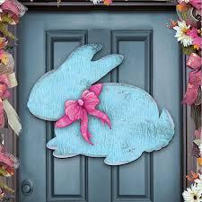 vintage easter baby bunny rabbit wooden rustic decorative wall door hanger 987212