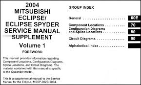 2004 mitsubishi eclipse spyder wiring diagram manual original table of contents