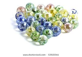 decorative marbles colored glass isolated on a white large
