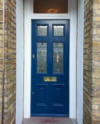 front door with patterned glass