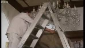 watch del and rodney smash the chandelier only fools and horses bbc gif on