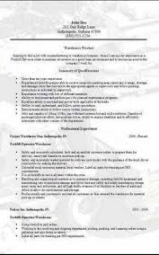 Resumes For Warehouse Workers Amazing Warehouse Worker Resume Beauteous Resume Template Warehouse Worker