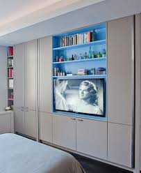 built in tv and shelves
