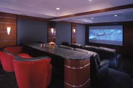 Interior:Amazing Home Theater Room With Two Level Seating Complete With  Mounted Screen Unit Amazing