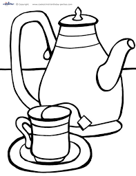 Small Picture Printable Tea Party Coloring Page 2