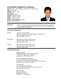 Ideas Collection Sample Resume For Hotel And Restaurant Management Graduate  For Your Download Proposal