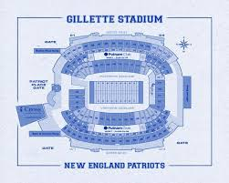 Vintage Print Of Gillette Stadium Seating Chart On Photo Paper Matte Paper Or Stretched Canvas