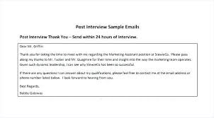 Post Interview Email Post Interview Thank You Email Piazzola Co