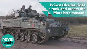 Prince Charles rides a tank and meets the Mercian's mascot ram ...
