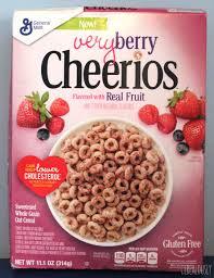 general mills very berry cheerios box