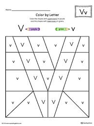 Kids use a key to color worksheet. Uppercase Letter V Color By Letter Worksheet Myteachingstation Com