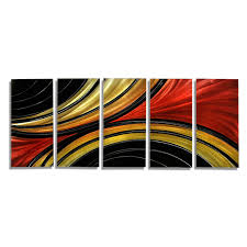 black red and gold wall art