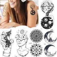 черный для женщин планеты руки творческий наклейки для временных татуировок шеи