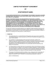 Limited Partnership Agreement Template Limited Partnership Agreement Template Word Pdf By Business In