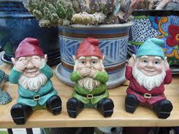 garden gnomes hear no evil speak no evil see no evil plastic