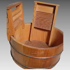 vintage wood wash tub with wringer scrub board