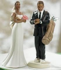 Exasperated Bride Golfer Groom Wedding Cake Topper