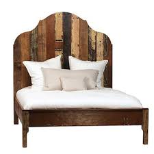 Distressed Painted Wood Bed Frame Queen
