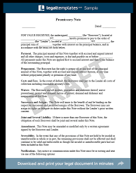 Promissory Note Templates Word Promissory Note Free Promissory Note Template Sample Pdf